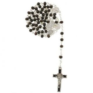 St. Benedict Rosary with 5mm Dark Colored Wood Beads with