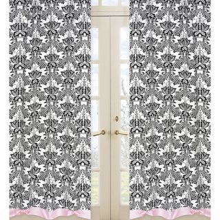 Sophia Pink and Black 84 inch Curtain Panel Pair