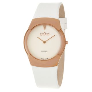 Skagen Womens Swiss Stainless Steel Rose Gold Plated Diamonds Watch