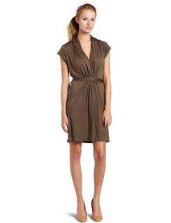 Bordeaux Womens Shawl Collar Dress, Dark Moss, Petite