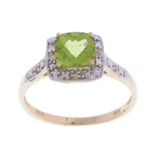14k Yellow Gold Square Peridot Diamond Ring