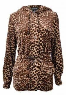Sutton Studio Womens Leopard Anorak Jacket Plus Clothing