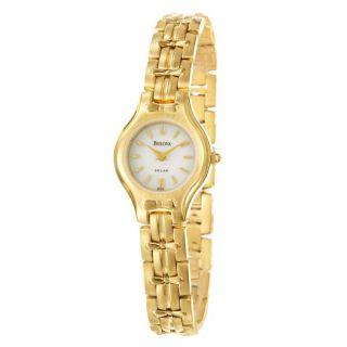 Bulova Womens Solar Goldplated Stainless Steel Quartz Watch