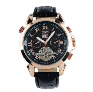 ESS Men Black Tourbillon Rose Golden Aviator Automatic Mechanical