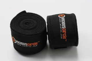 180 Elastic Cotton MMA Handwraps (Pair)   Black Sports
