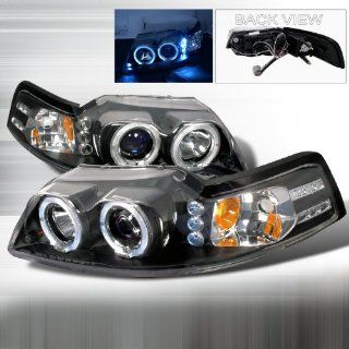 99 00 01 02 03 04 Ford Mustang Halo Projector Headlights   Black (Pair