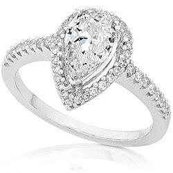 14k Gold 1 1/4ct TDW Pear cut Diamond Ring (D, SI1)