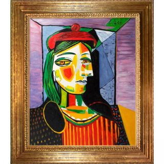 Picasso Paintings Femme au Beret Rouge w/ Vienna Gold Leaf Finish Wood