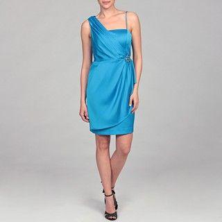 Eliza J Womens Turquoise Brooch Detail Dress