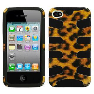Premium Apple iPhone 4/ 4S Leopard/ Black Fishbone Protector Case