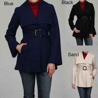 Jessica Simpson Womens Melton Belted Coat FINAL SALE