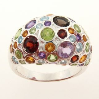 Meredith Leigh Sterling Silver Multi gemstone Dome Ring