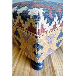 Handmade Kilim Dark Sheesham Wooden Leg Square Ottoman (India