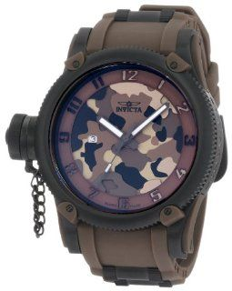 Invicta Mens 1198 Russian Diver Brown Camouflage Dial Polyurethane