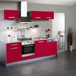 BOX Cuisine L 245 cm Rouge façade lave vaisselle   Achat / Vente