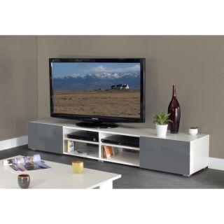 MANGO Banc TV 185cm 2 tiroirs blanc gris brillant   Achat / Vente