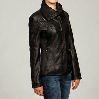 Izod Womens Plus Size Black New Zealand Lambskin Leaher Scuba Jacke