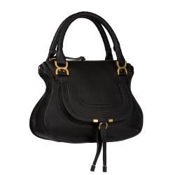 Chloe Marcie Small Black Leather Satchel