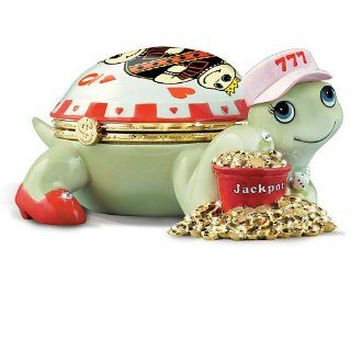 The Queen Of Hearts Turtle Music Box For Casino Lovers by