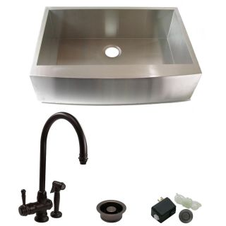 DeNovo Single Bowl Stainless Steel Farmhouse Kitchen Sink and Faucet
