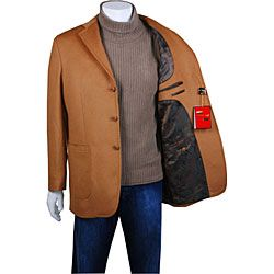 Mantoni Mens Camel Wool/ Cashmere Short Coat