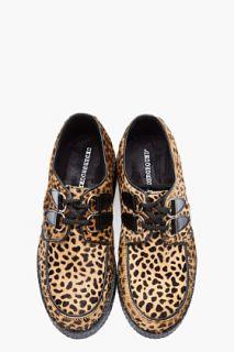Underground Brown Wulfrun Leopard print Calf hair Creepers for men