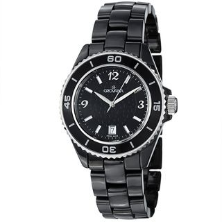 Grovana Mens Black Dial Black Ceramic Bracelet Quartz Watch