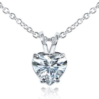 14k White Gold Heart cut Moissanite Solitaire Necklace