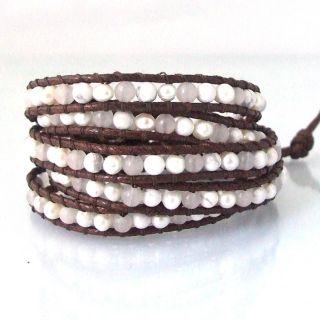White Purity Milky Quartz Snake Cord Leather 5 Wrap Bracelet (Thailand