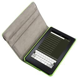 Green Leather Swivel Case/ Headset for  Kindle Fire
