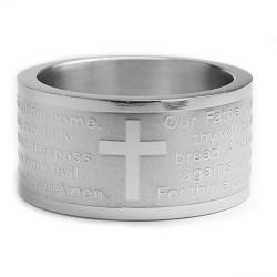 Stainless Steel Lords Prayer Ring (12 mm)