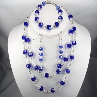 Dark Sapphire Crystal Wedding Jewelry Set