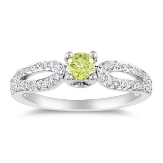 Miadora 14k White Gold 1/2ct TDW Yellow and White Diamond Ring (H I