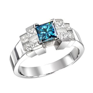 14k White Gold 1 1/4ct TDW Blue Round and Princess Diamond Ring (Size