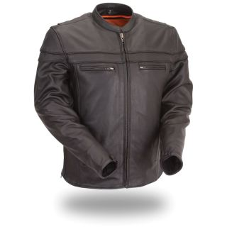 First Classics Mens Black Leather Sporty Motorcycle Jacket