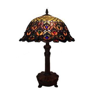 Tiffany style Peacock Jewel Table Lamp