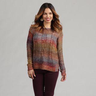 Kensie Womens Open Work Slit Striped Sweater