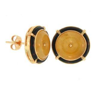 Mason Kay 14k Yellow Gold Yellow Jadeite Disc and Black Onyx Earrings