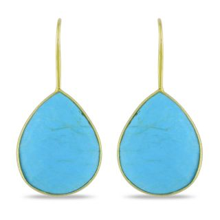 Miadora 22k Gold Plated Silver Turquoise Dangle Earrings