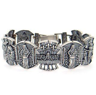 Silver Last Supper Jesus Nativity Scene CZ Bracelet