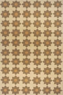 Olive Green Flower Chain Wool Rug (86 x 116)
