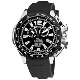 August Steiner Mens Stainless Steel Swiss Quartz Divers Chronograph