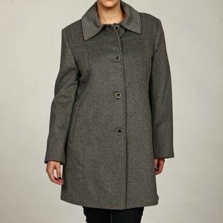 Jones New York Womens Plus Size Wool Blend Coat