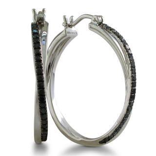 Sterling Silver 1/2ct TDW Black Diamond Twisted Hoop Earrings