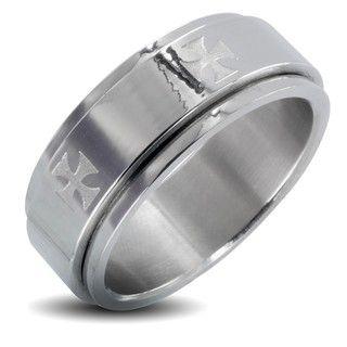 Stainless Steel Mens Iron Cross Spinner Ring