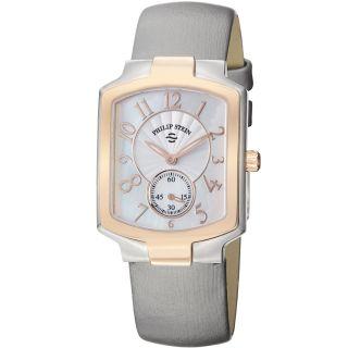 Philip Stein Womens Signature Platinum Silk Strap Two Tone Watch
