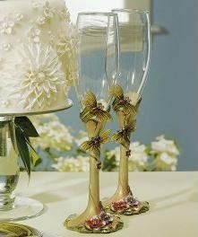 Ornamental Dragon Fly with Jewels Wedding Toasting Flutes