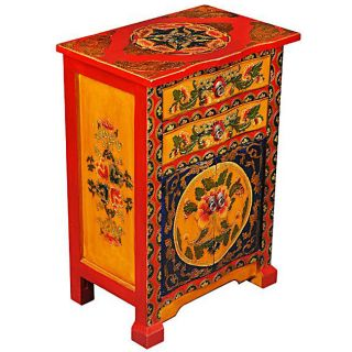Tibetan Hand painted Bow front End Table