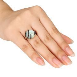 Miadora Sterling Silver Milky Aquamarine Black Diamond Ring