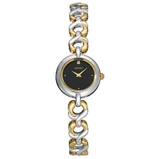Seiko Womens Two tone Black Dial Quartz Watch